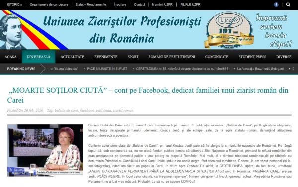 Uniunea Ziariştilor Profesionişti din România reacționează față de situația de la Carei