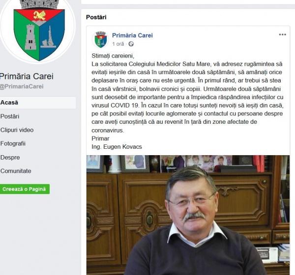 Primarul Kovacs informează careienii la solicitarea Colegiului Medicilor Satu Mare