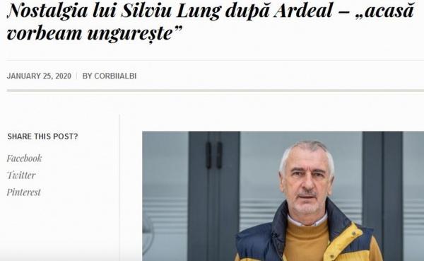 Silviu Lung nominalizat pentru distincția ,,Cetățean de Onoare,, abia după ce a afirmat…,,acasă vorbeam ungurește,,
