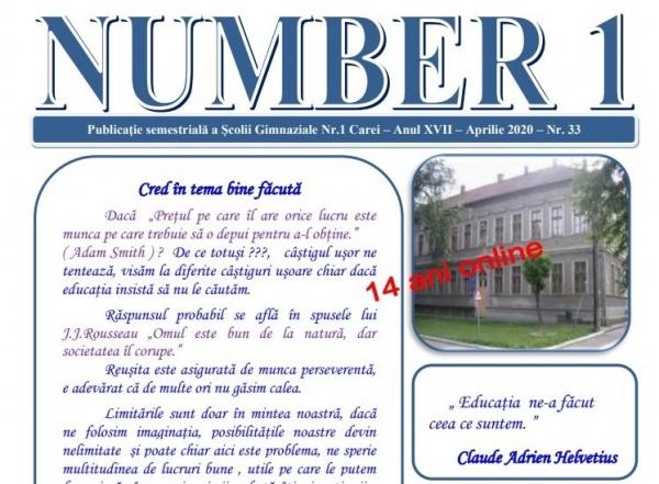 Aniversare online pentru Revista Școlii Gimnaziale nr.1 Carei. 14 ani de existență