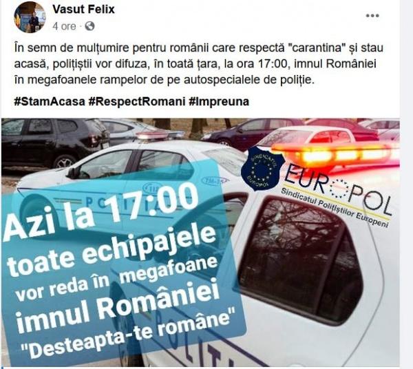 Polițiștii vor difuza Imnul României pe străzile localităților