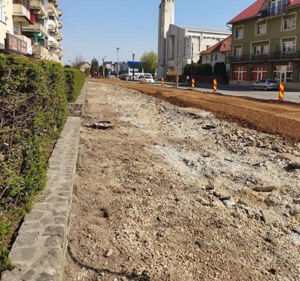 VIDEO. Ritm rapid de reabilitare a străzii Mihai Viteazul din Carei
