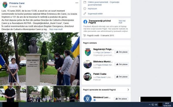 Mihai Eminescu intră pe pagina Primăriei Carei după semnalările Buletin de Carei