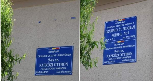 A apărut placa cu înscrisuri în limba română de pe Grădinița ,,Vasile Lucaciu,, Carei