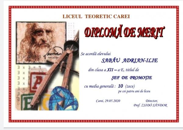 Adrian Sabău e șef de promoție la Liceul Teoretic Carei