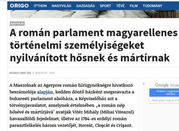 Atac la adresa eroilor și martirilor români în presa maghiară