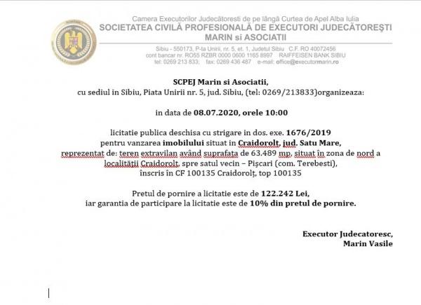 Licitație pentru vânzare imobil în Craidorolț