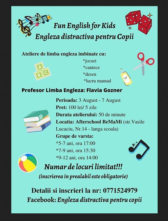 Atelierele de limba engleză pentru copii la Carei