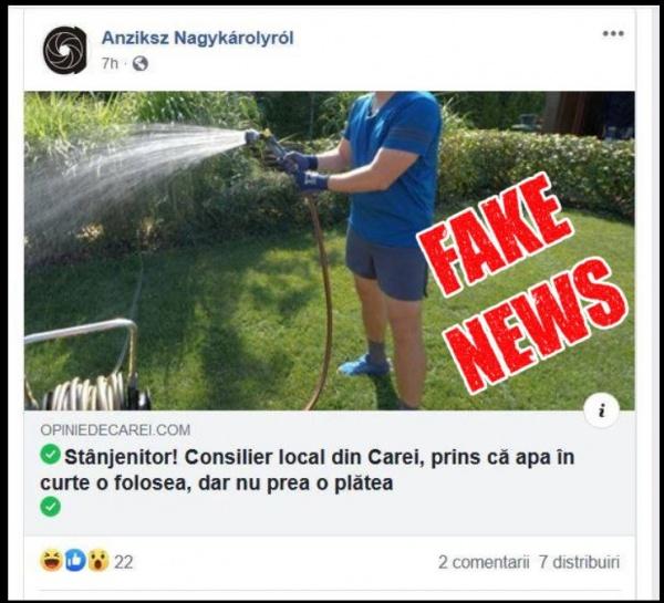 Un scrib candidat de primar la Căpleni promovează știri false la Carei
