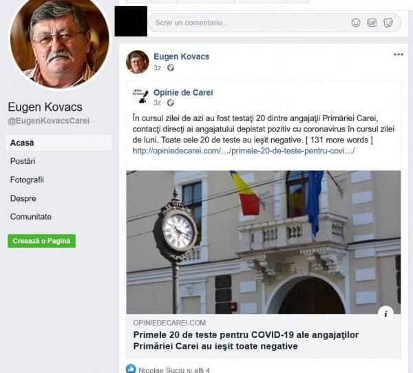 Informații în regim preferențial despre testele Covid 19 de la Primăria Carei