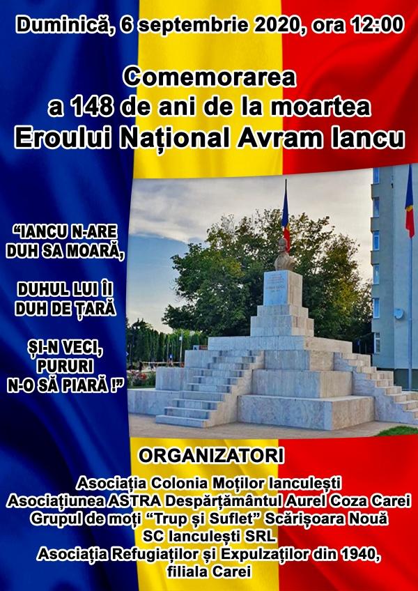 Invitație  la comemorarea Eroului Național Avram Iancu la Carei