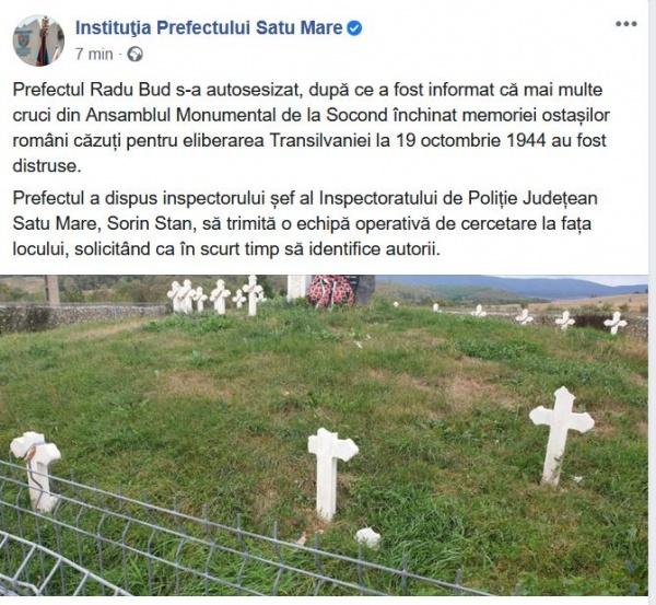 Prefectura reacționează în cazul crucilor vandalizate  în cimitirul eroilor eliberatori ai Transilvaniei de la Socond