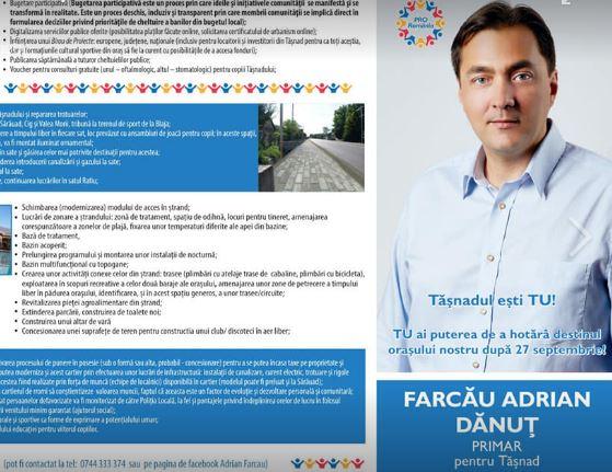 Adrian Farcău câştigă Primăria Tăşnad