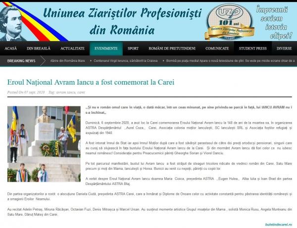 Uniunea Ziariștilor Profesioniști din România preia știrea despre comemorarea lui Avram Iancu de la Carei