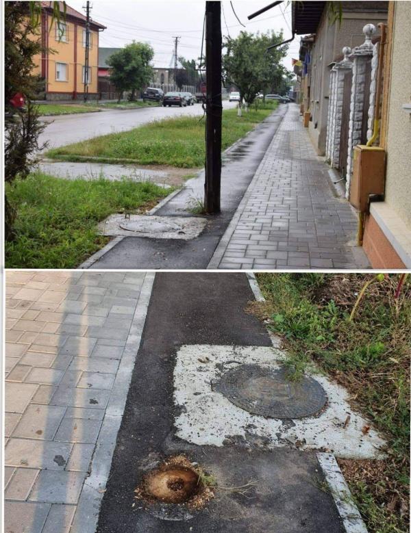 A dispărut stâlpul de pe pista de biciclete de pe strada Cimitirului