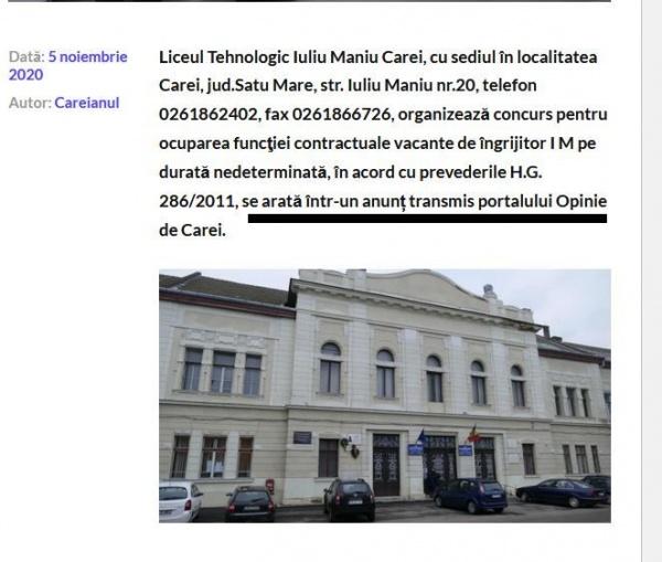 Post vacant de îngrijitor  la  un liceu din Carei. Directorul trimite comunicate oficiale doar blogului consilierului primarului evazionist