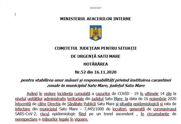 Se confirmă carantina de 14 zile pentru municipiul Satu Mare