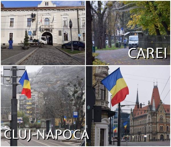 La Cluj Napoca steaguri la Carei ornamente de Crăciun