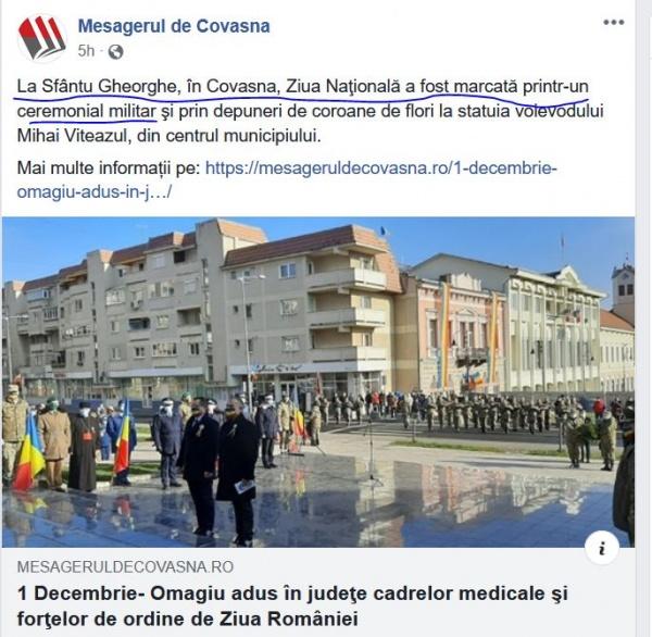 Ceremonial militar la Covasna și în țară de Ziua  Națională. La Satu Mare doar amintiri