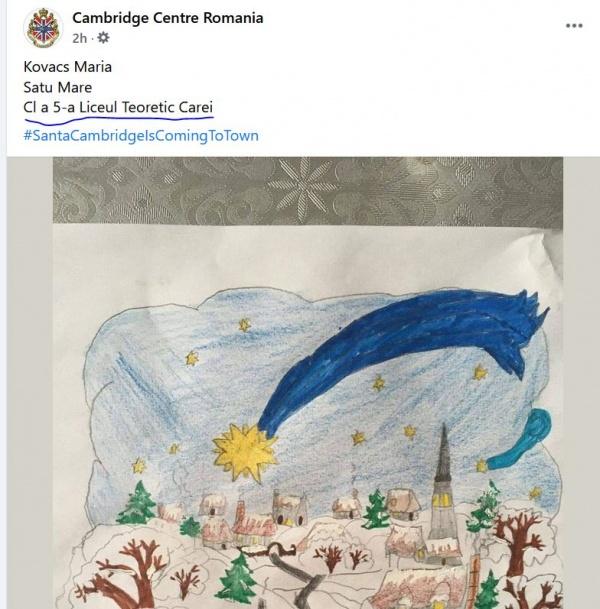 """O elevă din Carei are nevoie de susținere pentru a câștiga Premiul cel Mare la concursul """"Santa Cambridge is coming to town"""""""