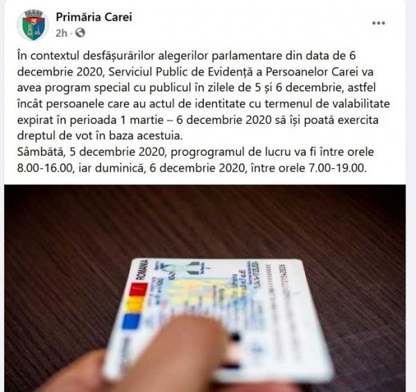 Primăria Carei reacționează și postează programul pentru eliberarea actelor de identitate