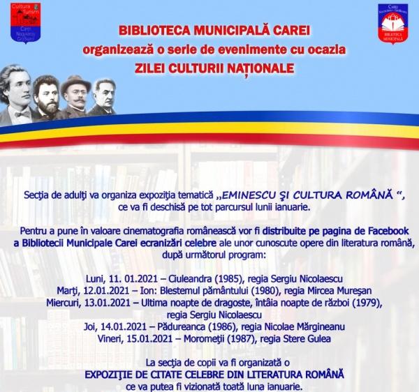 Calendarul evenimentelor organizate cu ocazia Zilei Culturii Naționale de Biblioteca Municipală Carei