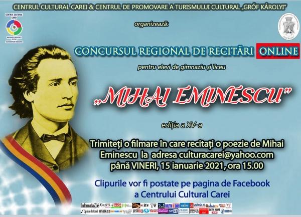 """Înscrieri pentru concursul de recitări """"Mihai Eminescu"""" ediția a XV-a Carei"""