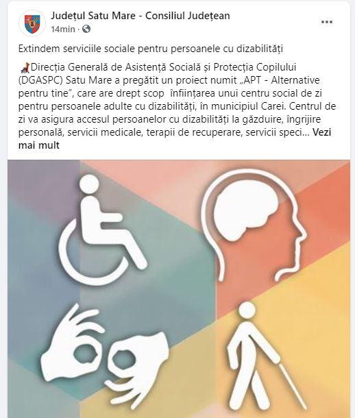 Servicii sociale la Carei pentru persoanele cu dizabilități