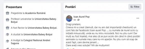 Și Ioan-Aurel Pop, președintele Academiei Române, este ținta unui cont fals pe facebook