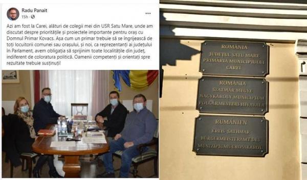 Parlamentarii USR-Plus de Satu Mare nu sunt deranjați de plăcile fără însemne naționale de pe clădirea Primăriei Carei