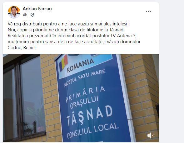 Video. Primarul orașului Tășnad ia atitudine împotriva desființării claselor de liceu