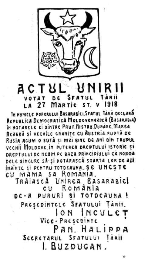 27 martie 1918 UNIREA BASARABIEI CU ROMÂNIA