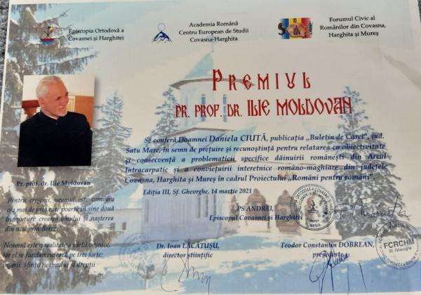 Unul din  premiile ,,Pr.Prof.dr.Ilie Moldovan,,  ajunge la Carei