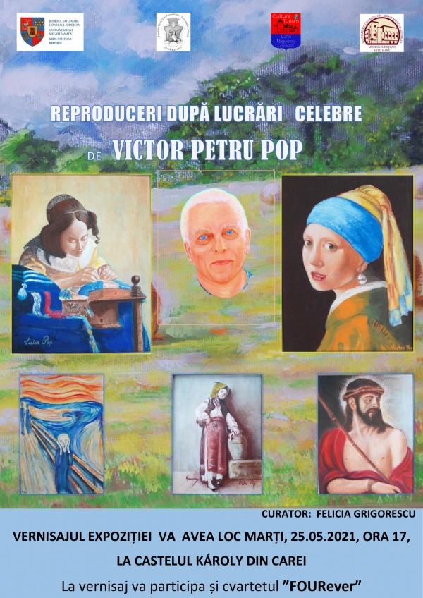 """Expoziție de pictură """"Reproduceri după lucrări celebre"""", semnată Victor Petru Pop, la castelul din Carei"""