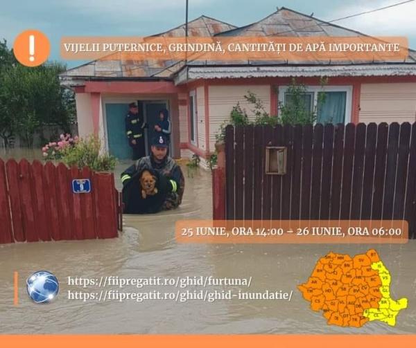 ISU Satu Mare a intervenit  în urma fenomenelor meteo de azi noapte