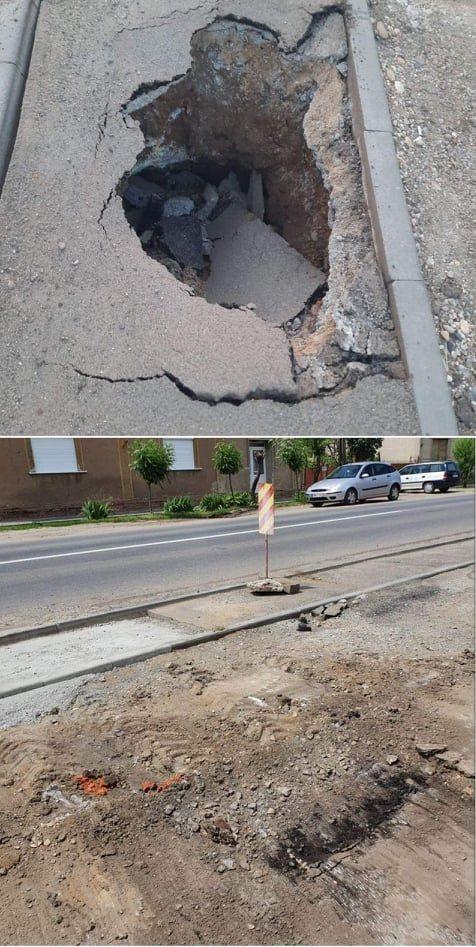 Se repară groapa căscată pe pista de biciclete de pe strada Uzinei din Carei