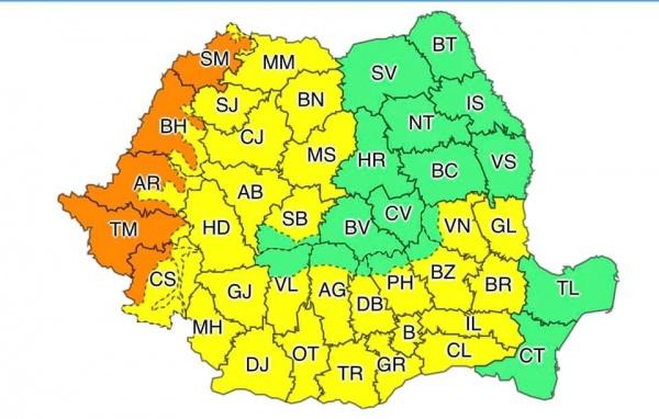 Cod portocaliu de caniculă în județul Satu Mare