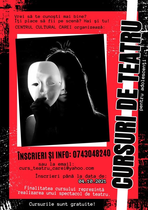 Cursuri de teatru gratuite, la Centrul Cultural Carei