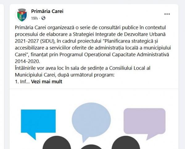 Primăria Carei organizează consultări publice când populația activă este la locul de muncă