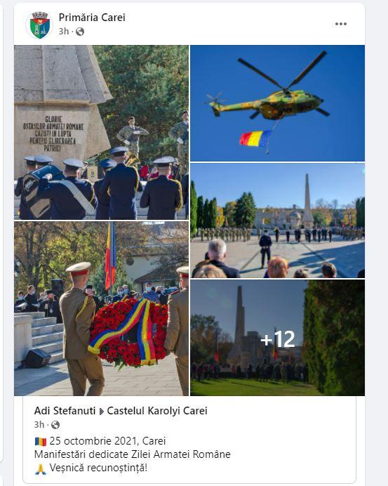 Promptitudine. Au apărut  imagini de la Ziua Armatei și ziua eliberării orașului Carei pe pagina Primăriei