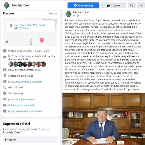 Primarul Careiului, evazionistul Kovacs, îi face iresponsabili pe antivacciniști