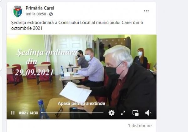 Primăria Carei a șters postarea buclucașă cu ședința din 6 octombrie