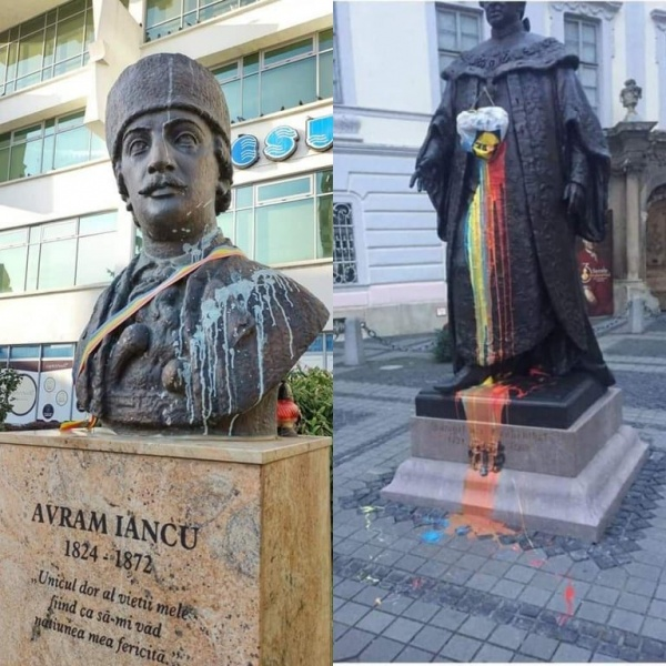 Poliția Română tratează diferit mânjirea cu vopsea a statuii baronului Brukenthal față de cea a lui Avram Iancu